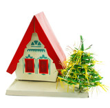 House and Christmas tree isolated on a white background