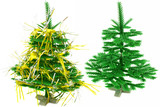Two Christmas trees isolated on a white background