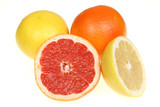 Red and yellow grapefruit. Citrus fruits isolated on white.