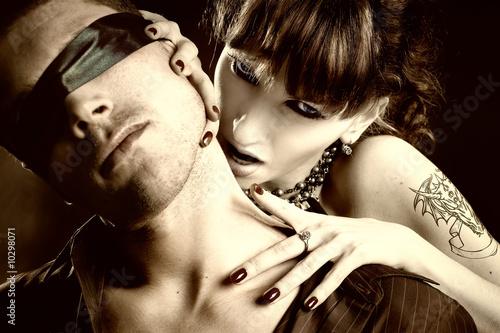 woman vampire bites a blind man
