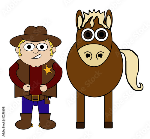 Cowboy & His Horse Cartoon - Isolated on white