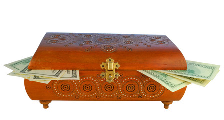 antique box with money, in-out safe close up
