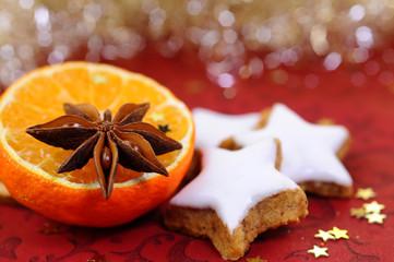 zimtplätzchen mit orangen und anis deko