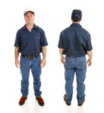 Front and back views of blue collar working man, isolated poster