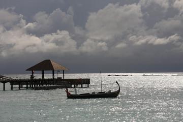Maldivian boat at a mooring Irufushi