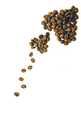 Arrows made of coffee beans on white background isolated