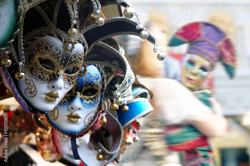 Fototapety, obrazy : Row of venetian masks in gold and blue