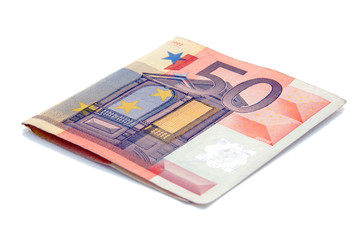 An isolated to white image of a 50 euro note