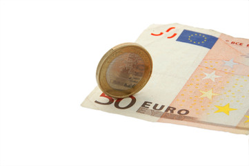 An isolated image of a 50 euro note and a 1 euro coin spinning