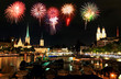 The Zurich City Skyline at night with firework illustration