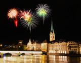 The Zurich City Skyline at night with firework illustration