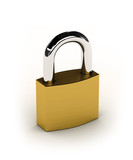 New shiny padlock over white background