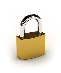 New shiny padlock over white background