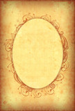 Vintage grungy wallpaper with floral oval frame poster
