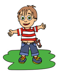 Boy with sling vector illustration