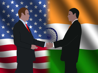 business men meeting over American and Indian flags