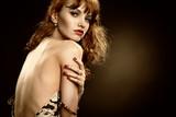 Attractive girl undress  in studio poster