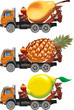 Vector fruit-truck set