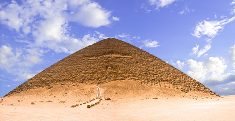 Panoramic of the great pyramid of Dashur (Red pyramid)