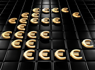 Gold money sign of euro on a black background