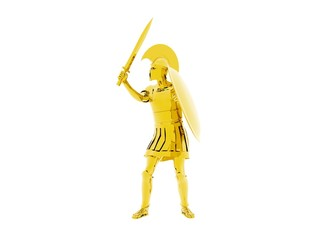 3D illustration of a Gold Greek Spartan Or Roman Warrion