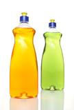 Two colourful bottles of dishwashing liquid on white background. poster