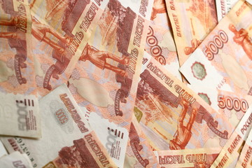 5000 rubles macro money background