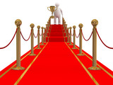 winner on a red carpet path. 3D image poster