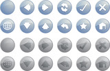 Navigation icon set of glossy buttons, enabled disabled