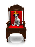 A dalmatian puppy with a crown on his head sitting in a chair. poster