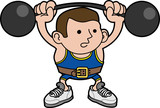 Illustration of male weightlifter poster