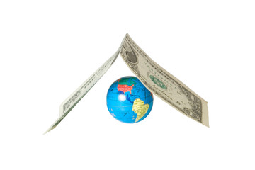Small globe hiding under the roof (made of a dollar bill)