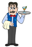 Cute waiter with drink poster