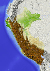Peru. Shaded relief map, colored for elevation. © Arid Ocean