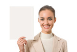 Cheerful businesswoman with blank signboard, isolated poster