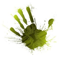 Technological green splatter handprint