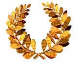 Fototapety 3d illustration of a golden laurel wreath .