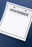 Blank Calendar, November, with blue background poster