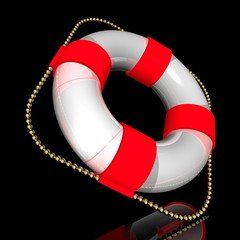 White lifebuoy ring with red strips, with a gold cord