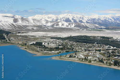 Looking down on the Tekapo township in rural New Zealand