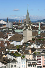 Zurich cityscape. St. Paul's Church. Swiss city.