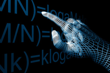 cyber hand mathemathics 3d abstract