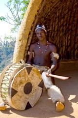 african tribe drum player