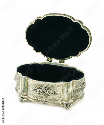 Ancient silver box open isolated on a white background
