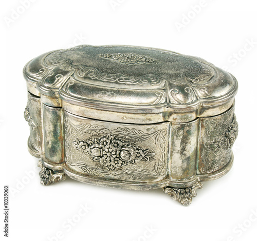 Ancient silver box isolated on a whitebackground