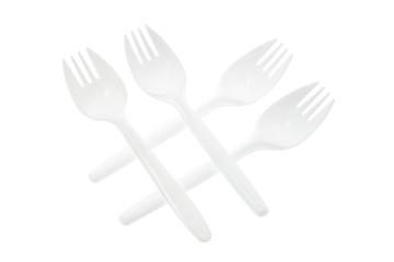 Arrangement of Plastic Forks on White Background