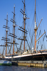 4-masted steel barque Sedov on a mooring in St.Petersburg