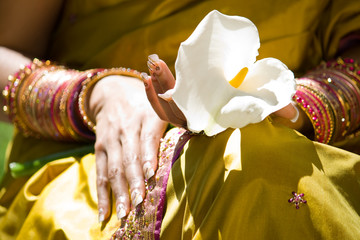 indian woman with flower