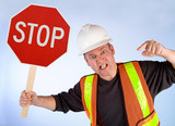 Conceptual Construction Worker Demanding to Stop poster