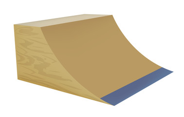 Illustration of a wooden street ramp on white